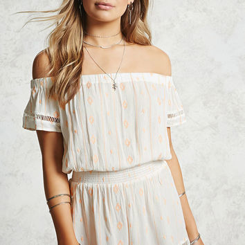 Off-the-Shoulder Smocked Romper