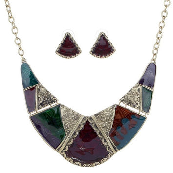 Vintage Gold Plated Embossed Multicolor Enamel Bib Collar Earrings Necklace Jewelry Set Women (Color: Burgundy) = 1946601348