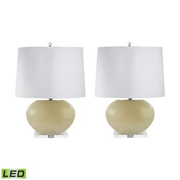 307C/S2-LED Blown Glass Oval LED Table Lamp In Cream - Set of 2