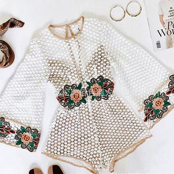 Sexy fashion new lace hollow embroidery trumpet sleeves back body pants