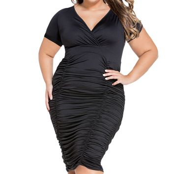Black Pleated Curvaceous Midi Dress