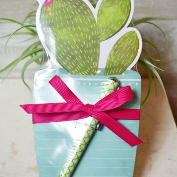 Potted Cactus Notepad w/ Pen