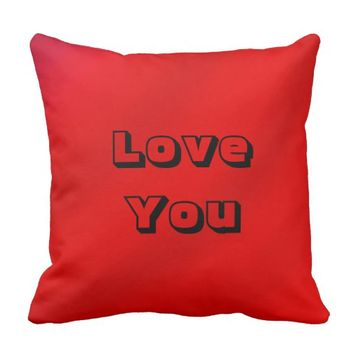 Love You Square Pillow Red Romantic