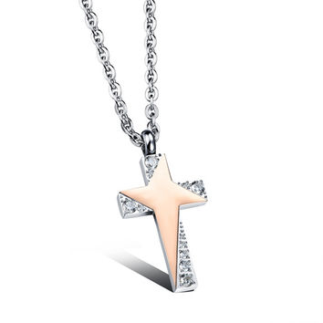 Star sparkling personal cross couple necklace for woman only