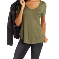 Ribbed Knit Boyfriend Tee by Charlotte Russe