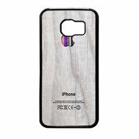 Apple Logo On White Wood Colorful Samsung Galaxy S6 Case