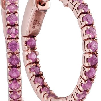14kt Rose Gold Womens Round Pink Sapphire Inside Outside Hoop Earrings 1-1/4 Cttw