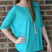 Turquoise Piko Top