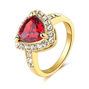 ARUEL Jewelry ring gold color women fashion wedding party romantic red Austrian crystal African anelli lover finger ring bague