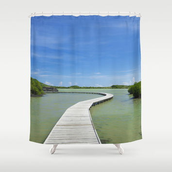 Road On Lake Shower Curtain by Cinema4design