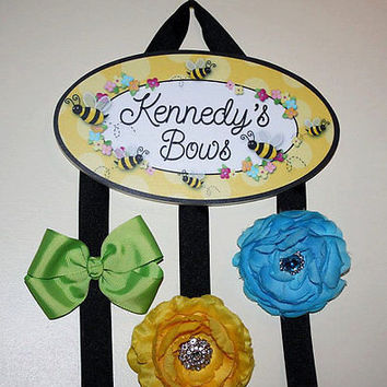 HAIR BOW HOLDER Personalized Bumble Bee HairBow Holder Bows Organizer HB0121
