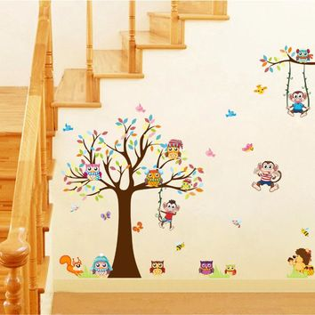 Brand 2017 Wall Stickers for Kids Rooms Animal Cute Owl Tree Monkey Nursery Baby Home Decor Decoration Wall Sticker Decals DIY