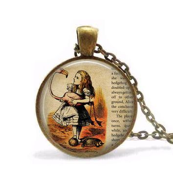Alice in wonderland Necklace Wonderland fantasy once upon a time Necklace women men jewelry chain brass necklaces charming