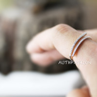 Adjustable Parallel Crystal lines Open Ring Simple Unique Ring Jewelry Gift Idea