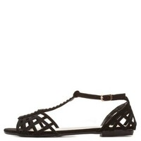 Bamboo Cut-Out T-Strap Flat Sandals by Charlotte Russe