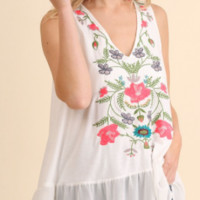 White Floral Embroidered Tank
