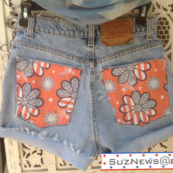 High Waisted Levi's Shorts USA Faded Patriotic FLAG Daisy Stars and Stripes America Fourth of July Size 27 //SuzNews Etsy//