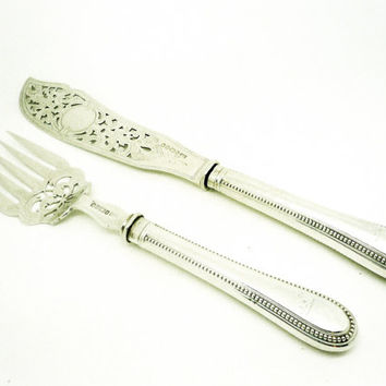 Antique Silver Fish Servers, Sterling, English, Victorian, Knife, Fork, Hallmarked Sheffield 1867, Henry Harrison, REF:248S