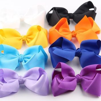 8Pcs 5'' 6'' Grosgrain Ribbon Bow Barrettes Girls Hair Bows With Clip Kids Hair Bow Clips Teens Hairpins Hair Accessories