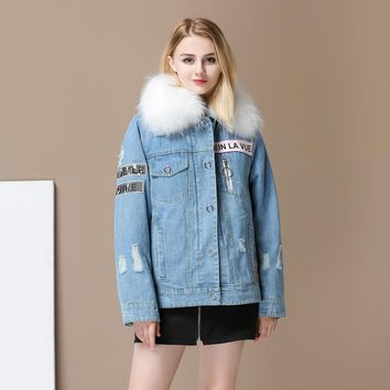 2017 Women Thicken Natural Raccoon Fur Lined Denim Coat Embroidery Jeans Jackets Real Fox Fur Female Jacket Overcoat