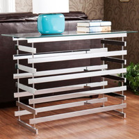 Modern Rectangular Console Table Living Room Furniture Glass Top Chrome Legs New