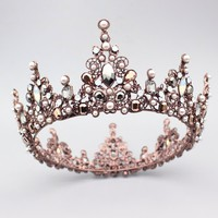 Gorgeous Crystal Vintage Queen King Crown Bridal tiara Women Prom Diadem Hair Ornaments Wedding Bride Hair Jewelry Accessories