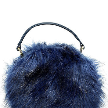 Fur the Best Navy Blue Faux Fur Purse