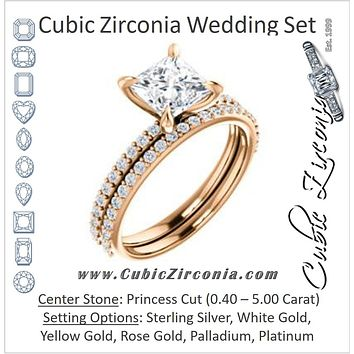 CZ Wedding Set, featuring The Geraldine Lea engagement ring (Customizable Princess Cut with Delicate Pavé Band)
