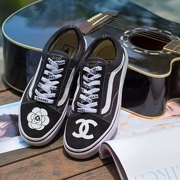Vans X Chanel Low Tops Flats Shoes Canvas Sneakers Sport Shoes