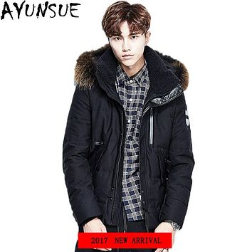 AYUNSUE 2017 Brand New Free Shipping Men Down Coat Jacket Short Warm Down black Color Fashion raccoon Fur Plus Size L-3XL LX1204