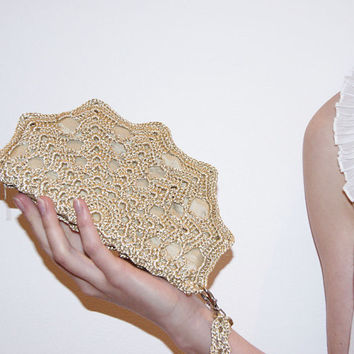 Golden Beige Crochet Shell Clutch