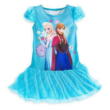 Licensed cool NEW DISNEY STORE FROZEN Anna Elsa Deluxe BLUE Nightshirt Nightgown Gown SZ 2 3