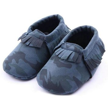 Baby Boy Girls Moccasins Shoes Army Camouflage PU Leather Shoes Newborn Baby Kids Soft