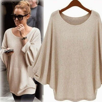 Bawting Sleeve Oversized Sweater Autumn Women Basic Outwear Pullovers Casual Loose Knitted Sweater Abrigos Mujer#C113
