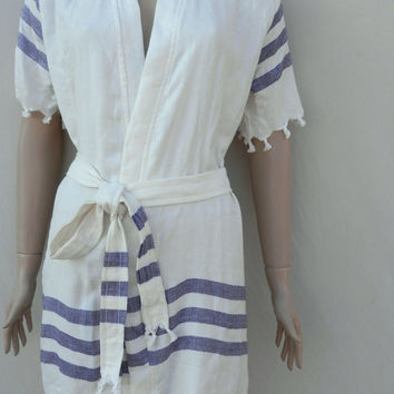 Women's Turkish peshtemal style bamboo kimono bathrobe, spa robe, beach cover up, dressing gown, morning gown with purple stripes.