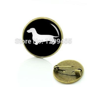 Best Deals Ever dog silhouette brooches supernatural hunter hound metal pin Limited Romantic Dachshund Horse badge jewelry T354