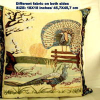 Peacock springtime pillow – Traditional woven cover 18x18
