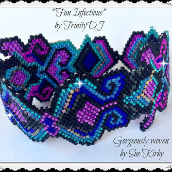 BP-PEY-013 - Fun Infectious - Peyote Stitch Beadwork Pattern, seed bead jewelry,beadweaving tutorial,beaded bracelet,bracelet pattern