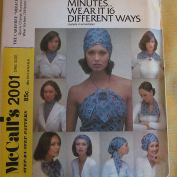 Uncut 1970's McCall's Sewing Pattern, 2001! One Size Fits All, 1 Yard Pattern, Turbans/Collars/Halters, Easy 20 min Sewing, Summer/Spring