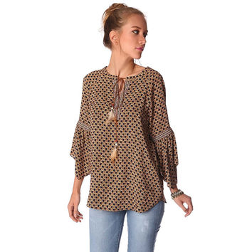 Camel embroidered tie neck boho blouse