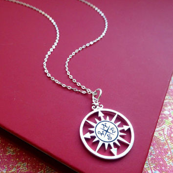 Compass necklace, Graduation gift, compass charm, Friendship necklace, best friends gift, 2015 graduate gift