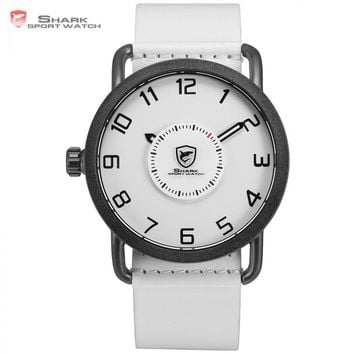 Caribbean Rough Shark Sport Watch White Simple Left Side Crown Turntable Rotate Second Hand Leather Strap Quartz Watches /SH526