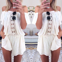 LACE STITCHING JUMPSUITS