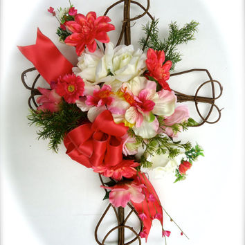 "Cemetery Floral Memorial Grapevine Cross - ""Sentiments of Summer,Cemetery Flowers in Coral with Hibiscus ,Graveside Flowers, Funeral Flowers"