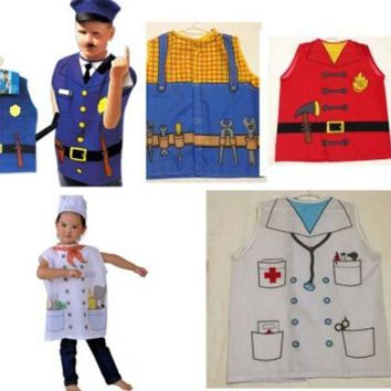 LMFON 2016 Hot cosplay clothes performing the role professional chef clothing chirldren Police costume Fire clothing Doctor clothes