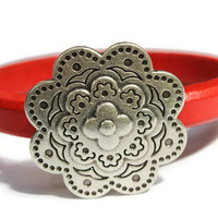 Flower Bracelet Flower Bangle Leather Flower Bracelet Coral Red Leather Bangle Flower Jewelry Flower Clasp PepperPotLeatherShop PPP
