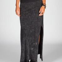 Full Tilt Mineral Wash Maxi Skirt Black/Grey  In Sizes
