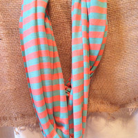 Coral/Mint Infinity Scarf