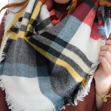 Falling Leaves Blanket Scarf White