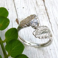 Feather Leaf Engagement Ring Sterling Silver Casual Woodland Wedding